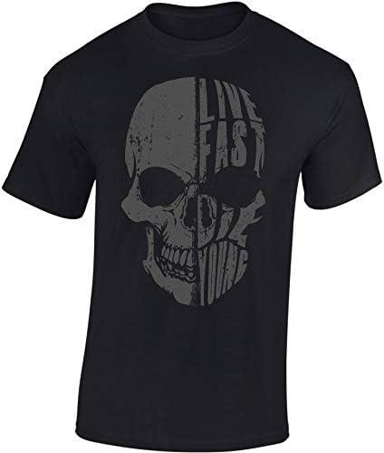 Camiseta: Live Fast Die Young - Regalo Motero-s - T-Shirt Biker Hombre-s y Mujer-es - Motocicleta - Bike - Chopper - Moto Club - Anarchy - Motociclismo - Calavera - USA - Motocross Vintage - Muerte