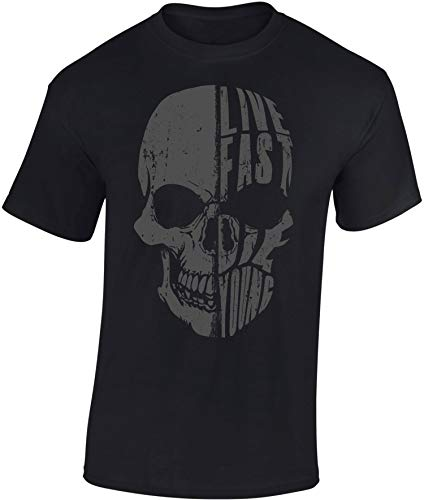Camiseta: Live Fast Die Young - Regalo Motero-s - T-Shirt Biker Hombre-s y Mujer-es - Motocicleta - Bike - Chopper - Moto Club - Anarchy - Motociclismo - Calavera - USA - Motocross Vintage (XL)