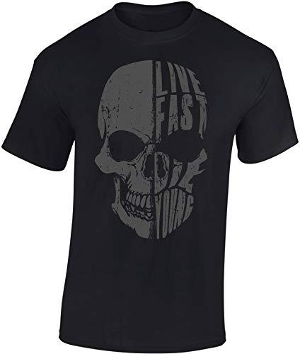 Camiseta: Live Fast Die Young - Regalo Motero-s - T-Shirt Biker Hombre-s y Mujer-es - Motocicleta - Bike - Chopper - Moto Club - Anarchy - Motociclismo - Calavera - USA - Motocross Vintage (L)