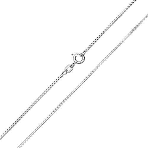 Damen Halskette 925 Sterlingsilber Rhodiniert Venezianerkette Breite 1,20mm Länge 36cm 38cm 40cm 42cm 45cm 50cm 55cm 60cm Silberkette Damenkette (38 Zentimeter)