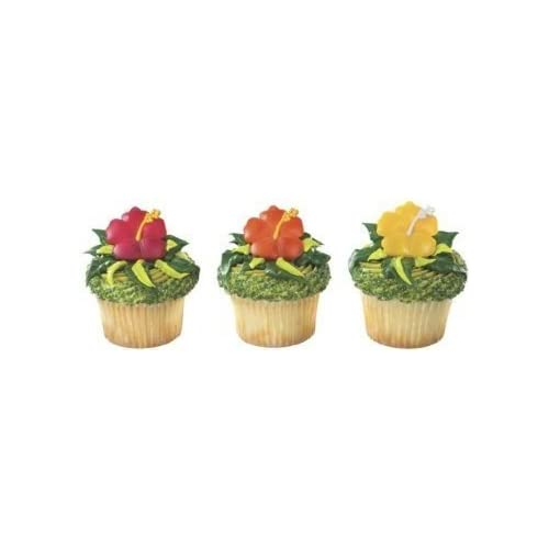 Party Favor Cake Topper Buy Now Tropical Tiki Polynesian Hawaii Cupcake Rings 24