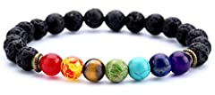 【Lava Chakra Bracelet】Lava Stone & 7 Chakra Stone 【Diffuser Bracelet】You can drop your favorite oil on the lava stone so that you can smell the essential oil all day long. 【Size】Inner Length is 6.7 inches and It Is Elastic.Fits Most of the Size.Suita...