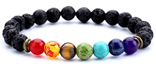 Doitory Men Women 8mm Lava Rock Beads Chakra Bracelet Friend Gifts Elastic Natural Stone Yoga Bracelet Bangle(Lava Chakra)