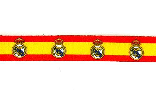 Gemelolandia | Pack y Set de 6 Pulseras de Tela Impresas con la Bandera España y el Real Madrid | Regalo Original | Ideal Para Bodas, Aniversarios, Fiestas, Despedidas de Solteros