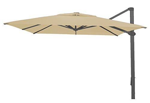 PEGANE Parasol déporté carré Naturel Anti-UV 400x400 cm