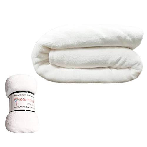 HTE Manta Microfibra para Cama Sofá y Sillón, Manta Polar Lisa de Tacto Suave Super Caliente para Adulto y Niño,Sin Arrugas (Blanco, 130 x 160 cm)