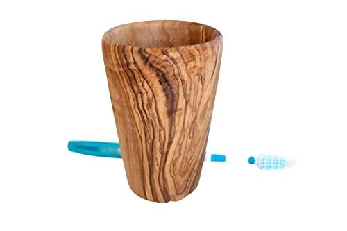 D.O.M. - Bicchiere portaspazzolino grande, in legno d'ulivo