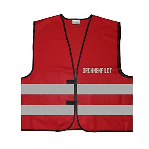Gilet ad alta visibilità – Gilet di segnalazione – Dronenpilot – Gilet di sicurezza con stampa riflettente ID: 595, Colore: rosso, XXL/3XL