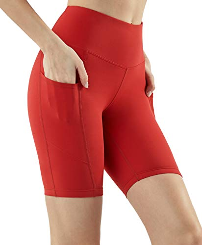 TSLA Women's High Waisted Bike Shorts, Workout Running Yoga Shorts with Pocket, Athletic Stretch Exercise Shorts, Pocket Contour 8in(fys28) - Red, Large