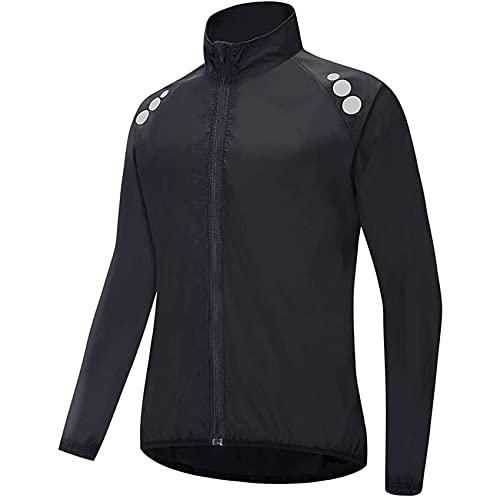 VCXZ Cycling Jacket Mens Women Reflective Running Jacket Breathable High Visibility MTB Jersey Rain Coat for Outdoor MTB Cycling,Black,XXL