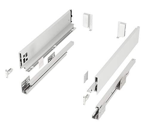Schubkastensystem SO-SLIM weiß Höhe: 84 mm Tiefe: 500 mm belastbar bis 40 Kg Soft-Close Schubladensystem mit 13 mm schlanken Schubladenzargen