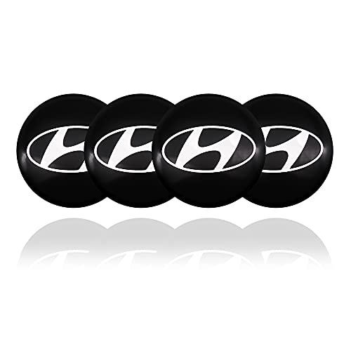 GONGYBZ 4 Piezas de Tapas de Cubo de Centro de Rueda de Coche Pegatinas de llanta de Rueda de Coche tapacubos Insignia Cubre Pegatinas para Hyundai Santa Fe Ix25 Tuc Accesorios de automóvil