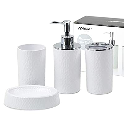 CERBIOR Bathroom Accessories Set 4 Piece Bath Ensemble Includes Soap Dispenser, Toothbrush Holder, Toothbrush Cup, Soap Dish for Decorative Countertop and Housewarming Gift, White
