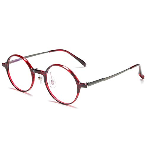 Retro Runde Anti-Blu-ray-Brille für Frauen Alu-Rahmen Computer Blu-Ray-Blockierung und Filterung Anti-Ermüdungs-Flugzeugspiegel TV-Schutz-Schlaf Tragbare ul tra-Light Brille-B