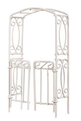 Rayher 46063102 Rankbogen mit Türen, 8x15x3,7cm, SB-Btl 1Stück, weiß