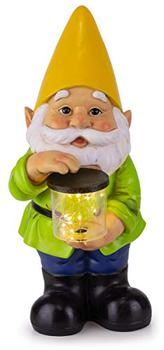 "Gnome Solar Powered LED Outdoor Decor Garden Light, 6"" W x 13"" H (Yellow Hat)"