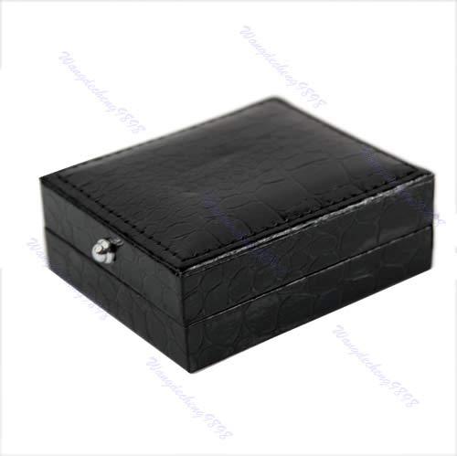 zrshygs Manschettenknöpfe Geschenkbox 1 STÜCK Schwarz Kunstleder Manschettenknöpfe Box Geschenk Aufbewahrungskoffer Display Manschettenhalter Neu