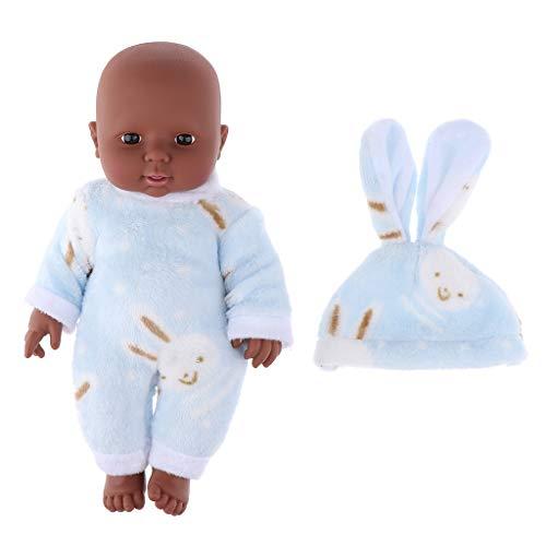 12 Zoll Weichkörperpuppe Weichkörper Babypuppe Puppen mit Kleidung, Höhe: 30cm, dunkelhäutig