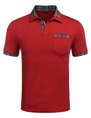 COOFANDY Poloshirt Herren Polohemd Golf Polo Kurzarm Slim Fit Baumwolle Plaid Kragen Sport Sportstil Rot