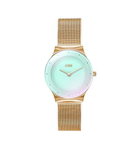 STORM Mini Terelo Gold Ice, elegant dameshorloge, waterdicht 3 bar, roestvrij staal, mineraalglas, 47452/GD, mesh armband