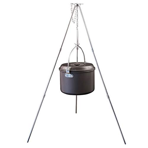 ZEERKEER Campfire Tripod Camping Tripod for Cooking Lightweight Aluminum Outdoor Cooking Tripod with Adjustable Hang Chain and Storage Bag for Picnic