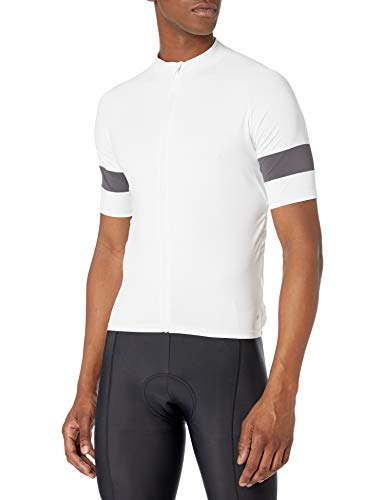 Amazon Essentials Men's Standard Short-Sleeve Cycling Jersey, White, X-Small