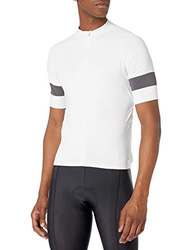 Amazon Essentials Maglia da Ciclismo a Maniche Corte Camicia, Bianco, XXL