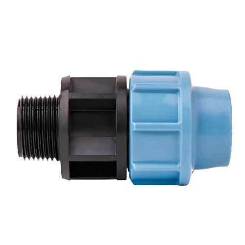 PE Rohr Verschraubung Kupplung 1/2-Zoll-außgewinde x 20 mm Anschluss, MDPE PE, für Wasserleitung, aus Kunststoff, Rohrverschraubung