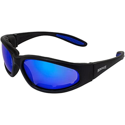 Global Vision Eyewear Hercules Plus Safety Glasses, G-Tech Blue Lens, Matte Black Frame