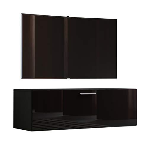 VCM TV Wand Board Schrank Tisch Fernseh Lowboard Wohnwand Regal Wandschrank Hängend Schwarz 40 x 115 x 36 cm