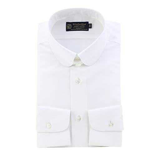 [ウィンザーノット] WindsorKnot ラウンドタブカラー ドレスシャツ 白無地 ブロード スリム 日本製 綿100% ワイシャツ