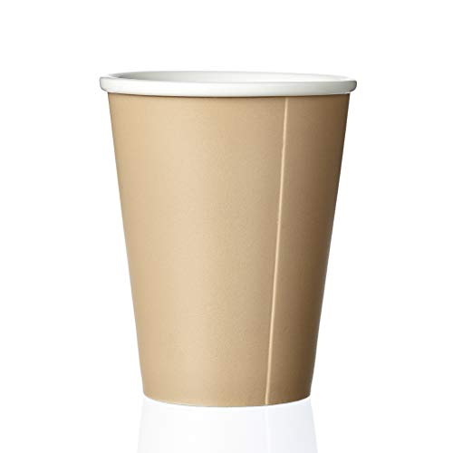 Kaffeebecher Porzellan mit Matt Finishing ohne Henkel, Große Kaffeetasse, Design Teetasse Orange 0,30L