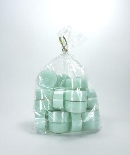 20 original Dänische Teelichter ohne Duft im Acryl-Cup farbig durchgefärbt mint