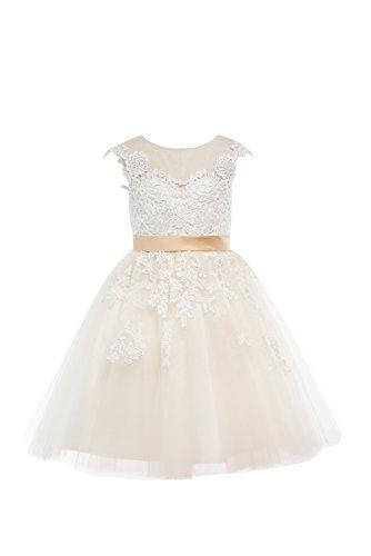 Miama Champagne Lace Tulle Wedding Flower Girl Dress Junior Bridesmaid Dress 2T