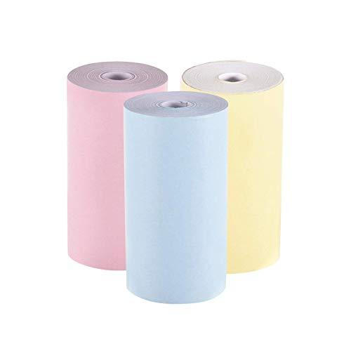 POHOVE Mini Thermal Papier Rolle, Bunte Thermal Aufkleber Papier, 57 x 30mm Klein Druck Papier, Streichhölzer Tragbar Foto Drucker, 3-Packs - Gelb, Pink, Blau, Free Size
