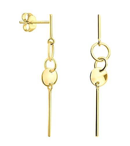DIAMALA Pendientes para mujer de oro 375 (9 quilates) – Pendientes de oro amarillo con diseño de círculo – DI20018