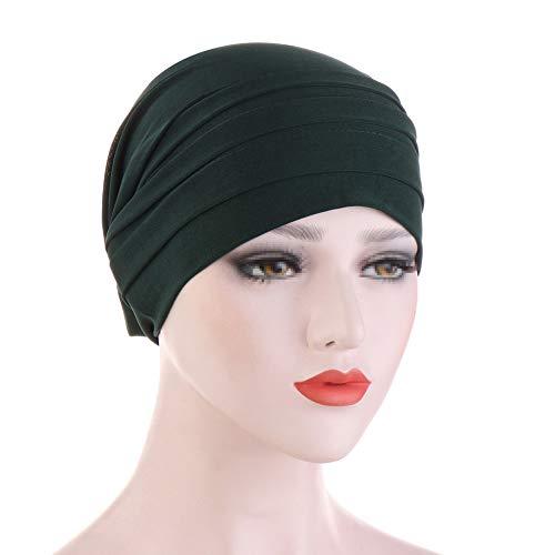 TININNA Turbantes para Mujer Cancer,Moda Casual Elegante Color Solido Lavada Pañuelo Bufanda Musulmana para Quimioterapia, Yoga, Chemo Oncológico, Noche Pèrdida de Pelo Cabello,Verde Oscuro ✅
