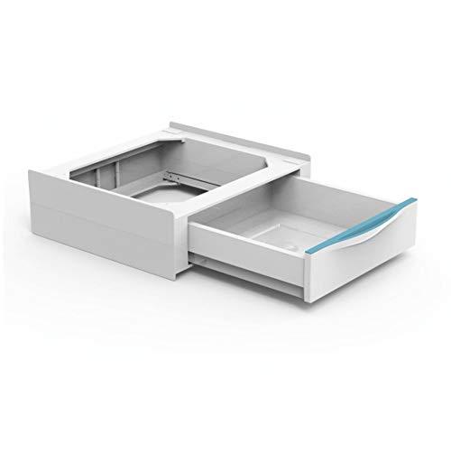 Xavax Zwischenbaurahmen mit Schublade (Verbindungsrahmen für Waschmaschine und Trockner, Zwischenbausatz mit ausziehbarem Schubfach, inkl. Zurrgurt) weiß