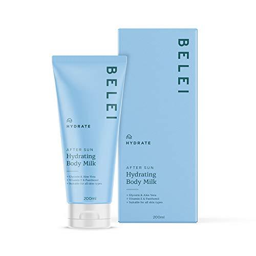 Amazon-Marke: Belei - Hydratisierende und reparierende After Sun-Körpermilch mit Glycerin, Aloe Vera, Vitamin E und Panthenol, 200 ml