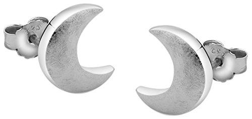 Nenalina Silber Damen-Ohrringe Ohrstecker Halbmond matt gebürstet für Frauen und Mädchen, 925 Sterling Silber, Ohrstecker für Damen, Ohrstecker Mond silber, 324404-390