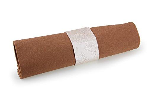 Serviettenring 30 Stück Glanzleder schlicht geschnitten creme 4x7cm Perlmutt Ornamentoptik