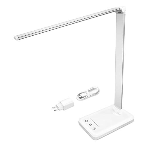 Lampada da Scrivania LED - Lampada da Tavolo LED con Porta di Ricarica USB | Protezione degli Occhi | 10 livelli di luminosità 5 Modalità di Illuminazione | Controllo Touch | per Ufficio & Cameretta