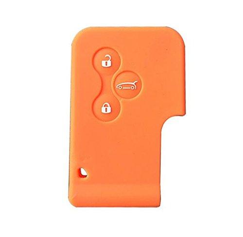 Happyit siliconen auto-afstandsbediening, voor Renault Megane R.S. Scene 3-knops kaartsleutel Smart Key oranje