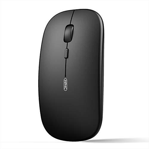 INPHIC Ratón Bluetooth, Ratón Inalámbrico Bluetooth 5.0 Delgado Silencioso Recargable, 800/1200/1600 DPI Ratón Inalámbrico para Computadora Portátil para Laptop PC Mac, iPadOS, negro
