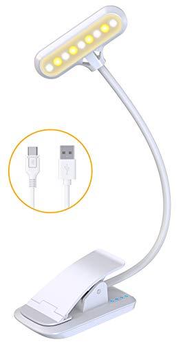 Cocoda Leselampe Buch Klemme, 9 LED Buchlampe mit 3 Farbtemperatur, USB Wiederaufladbar, Dimmbar Augenschutz Leselampe Bett, Touch Schalter, 360° Flexibel Led Klemmleuchte für Nachtlesen, Büro, Buch