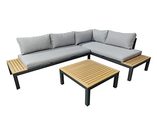 Gartenfreude Aluminium Ambience, Gestell, Kissen, WPC-Streben teakfarben Lounge, Dunkelgrau-Grau-Teak