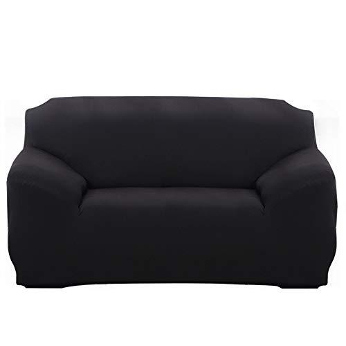 ChicSoleil Elastischer Sofabezug Sofa-Überwürfe 1/2/3/4 Sitzer Sofahusse Spannbezug Bezug Decke für Sofa Couch Sessel mit Armlehne (Schwarz, 3 Sitzer)