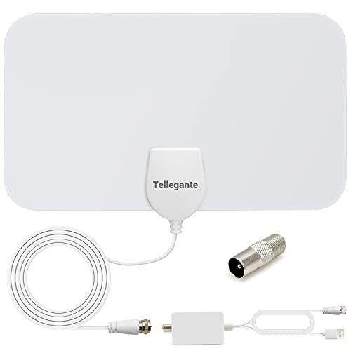 Antenne TV Intérieur TNT HD Puissante - Antenne HDTV 4K 1080P avec Amplicateur de Signal 25 dBi Jusqu'à 120 km de Portée - Récepteur Télévision Numérique/TV USB/Radio FM - 4m de Câble Coaxial - Blanc