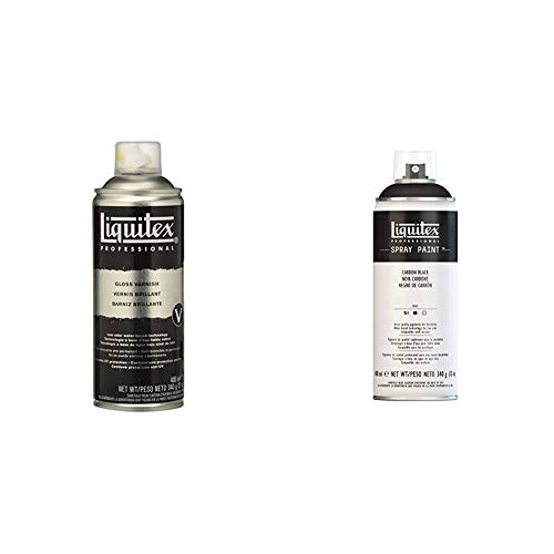 Liquitex Professional - Barniz en spray de 400 ml, transparente + Professional - Acrílico en spray, 400ml, negro carbon