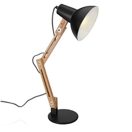 Navaris Design Holz Schreibtischlampe - E27 Fassung - mit Standfuß - Retro Tischlampe mit verstellbarem Gelenkarm - Vintage Nachttischlampe Schwarz